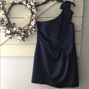 David's Bridal Dark blue one shoulder dress 14